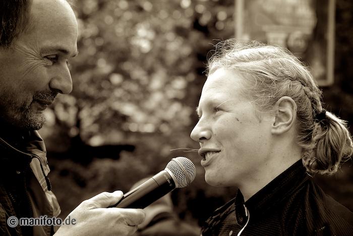 Nach dem Rennen: Interview bei der Siegerehrung
